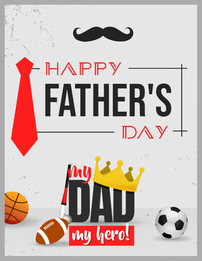 Happy Father's Day wish with illustrations